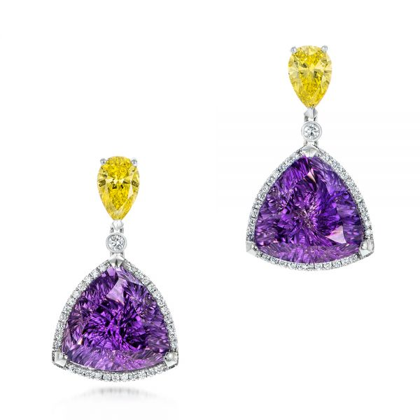 Custom Amethyst, Yellow and White Diamond Halo Earrings