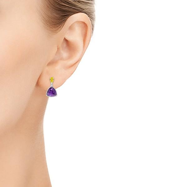 Custom Amethyst, Yellow and White Diamond Halo Earrings - Model View