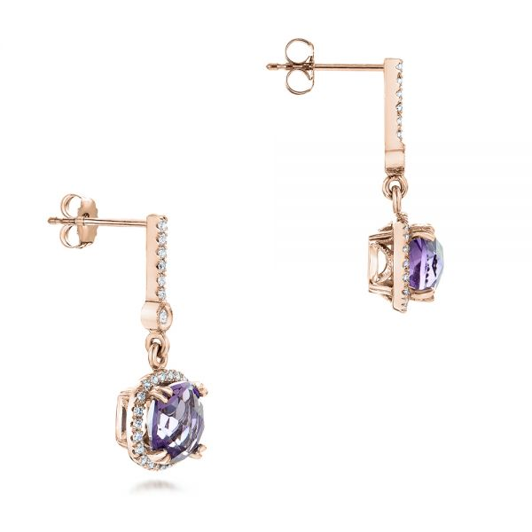14k Rose Gold 14k Rose Gold Custom Amethyst And Diamond Halo Earrings - Front View -  102181