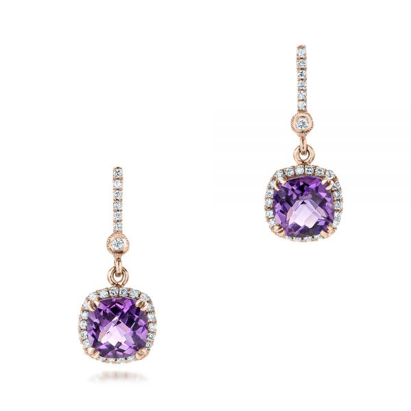14k Rose Gold 14k Rose Gold Custom Amethyst And Diamond Halo Earrings - Three-Quarter View -  102181