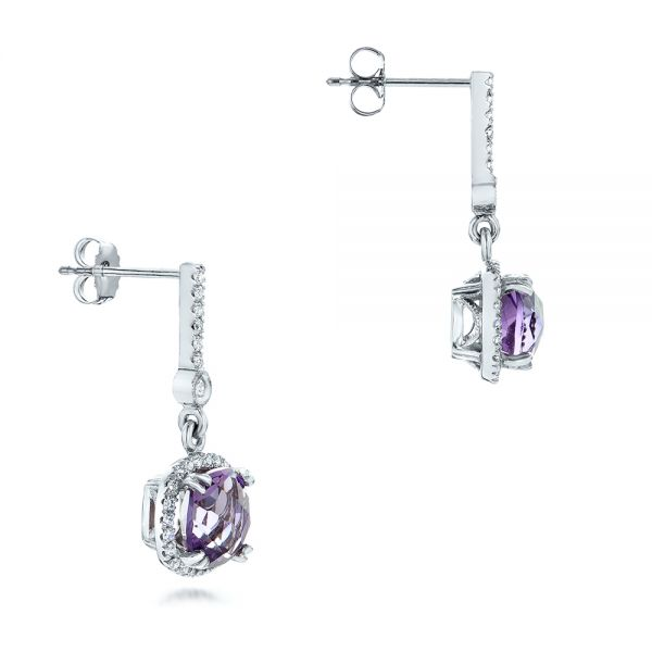 14k White Gold Custom Amethyst And Diamond Halo Earrings - Front View -