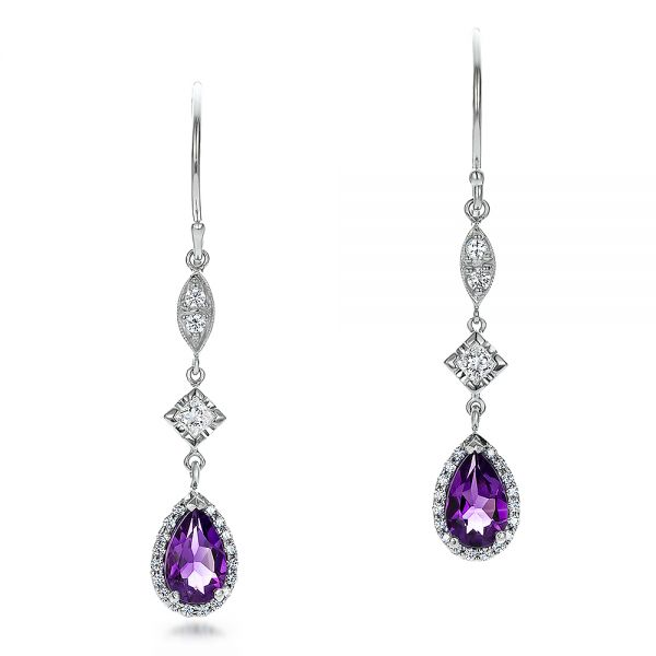 14k White Gold Custom Amethyst And Diamond Halo Earrings - Three-Quarter View -