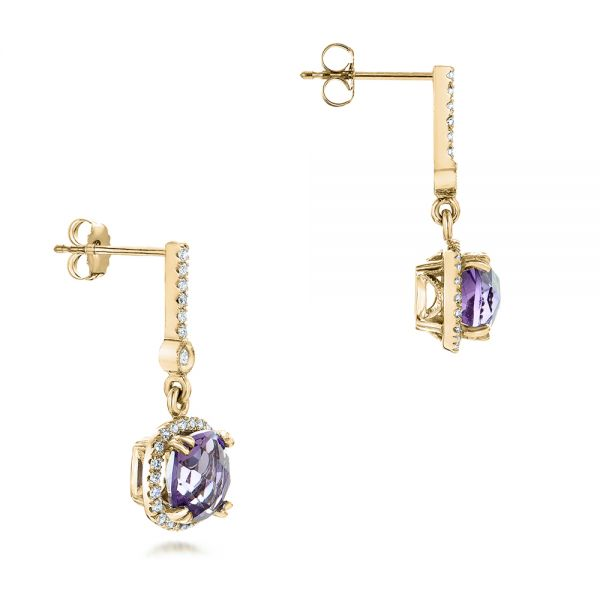 14k Yellow Gold 14k Yellow Gold Custom Amethyst And Diamond Halo Earrings - Front View -  102181