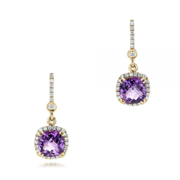 14k Yellow Gold 14k Yellow Gold Custom Amethyst And Diamond Halo Earrings - Three-Quarter View -  102181