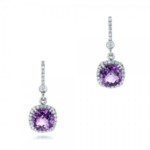 Custom Amethyst and Diamond Halo Earrings