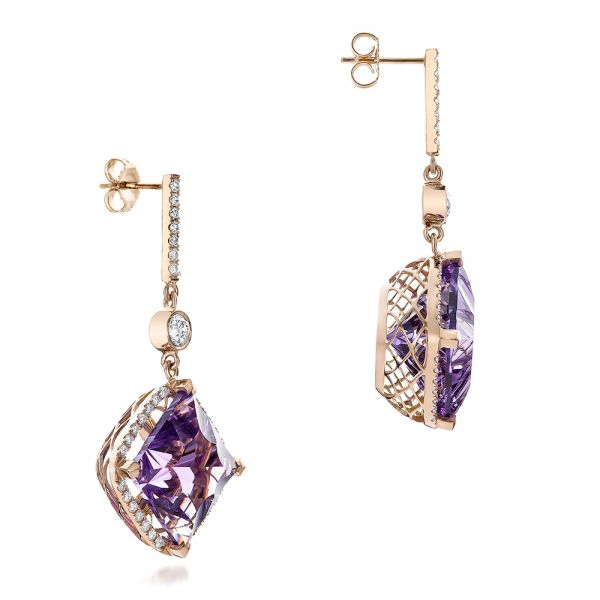 Custom Amethyst And Diamond Halo Earrings - Front View -