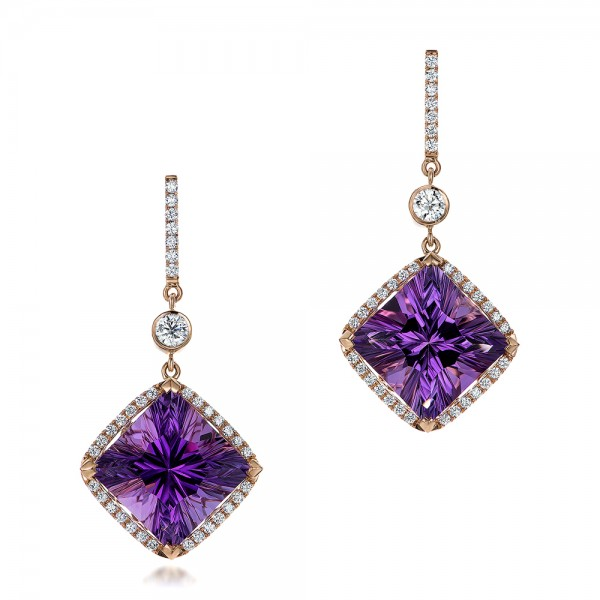 Custom  Amethyst and Diamond Halo Rose Gold Earrings