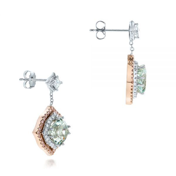 Custom Aquamarine And Pink Diamond Earrings - Front View -  102314