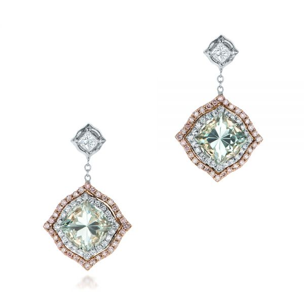 Custom Aquamarine and Pink Diamond Earrings