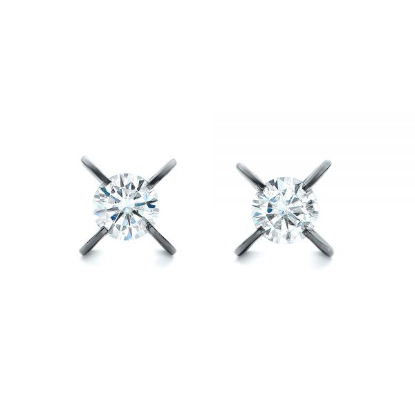 Custom Black Rhodium Diamond Stud Earrings