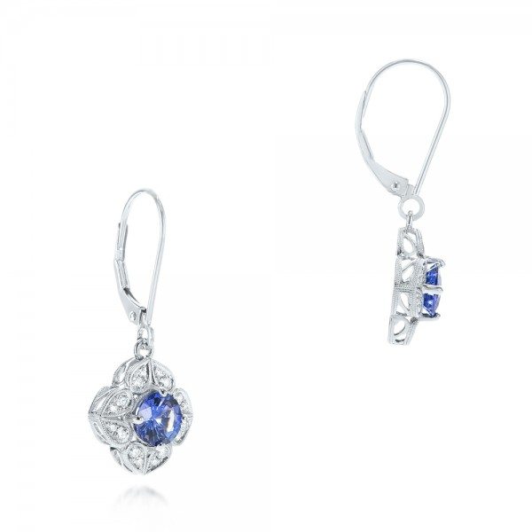 Blue Sapphire and Diamond Drop Earrings - Flat View -  103423 - Thumbnail