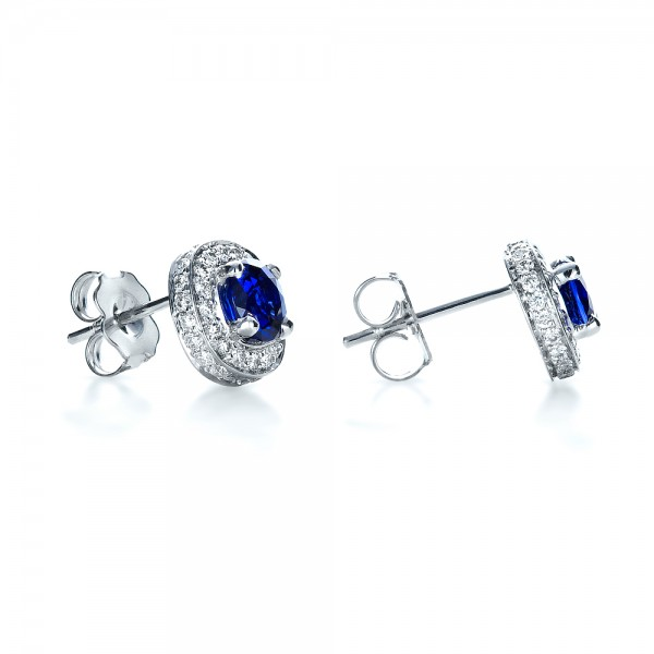 Custom Blue Sapphire and Diamond Earrings - Laying View