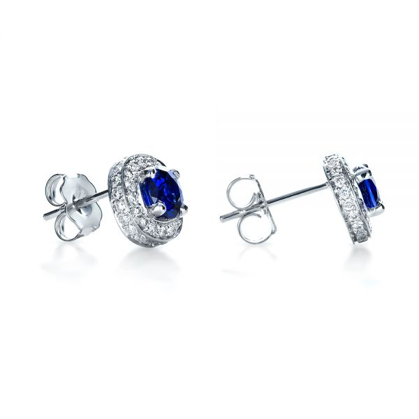 18k White Gold 18k White Gold Custom Blue Sapphire And Diamond Earrings - Front View -  1429