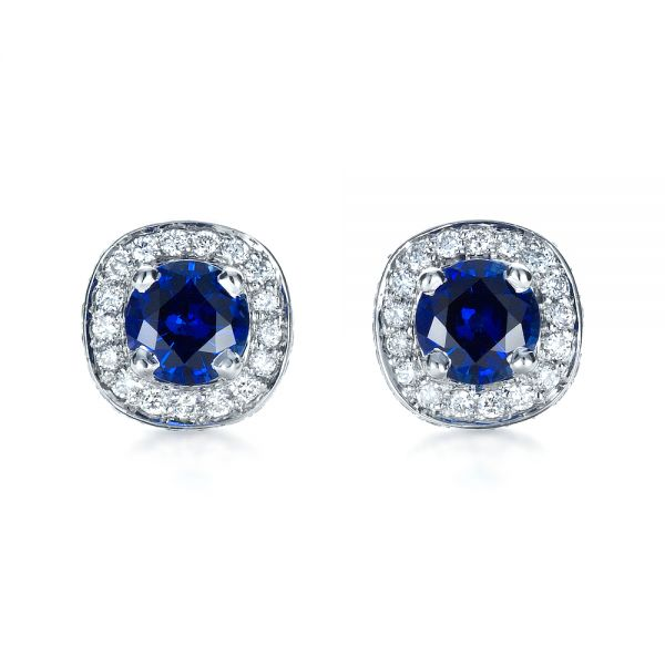 Custom Blue Sapphire and Diamond Earrings