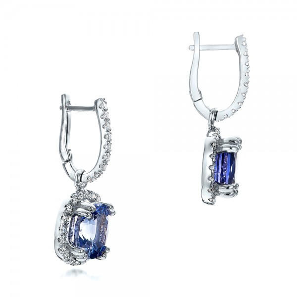 Custom Blue Sapphire and Diamond Halo Earrings - Flat View -  100859 - Thumbnail
