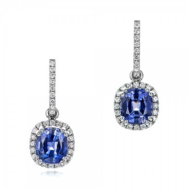 Custom Blue Sapphire and Diamond Halo Earrings