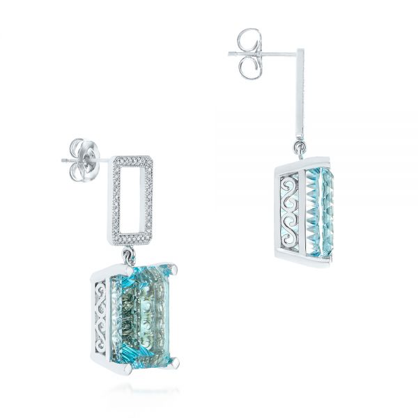 Custom Blue Topaz And Diamond Earrings - Front View -  104054