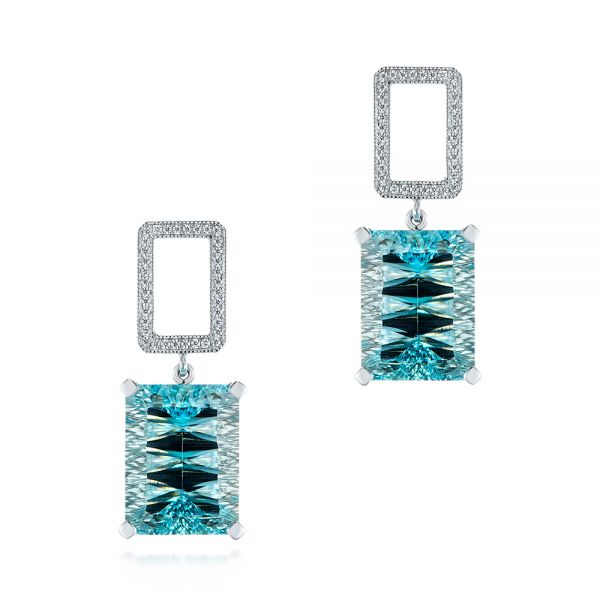 Custom Blue Topaz and Diamond Earrings - Image