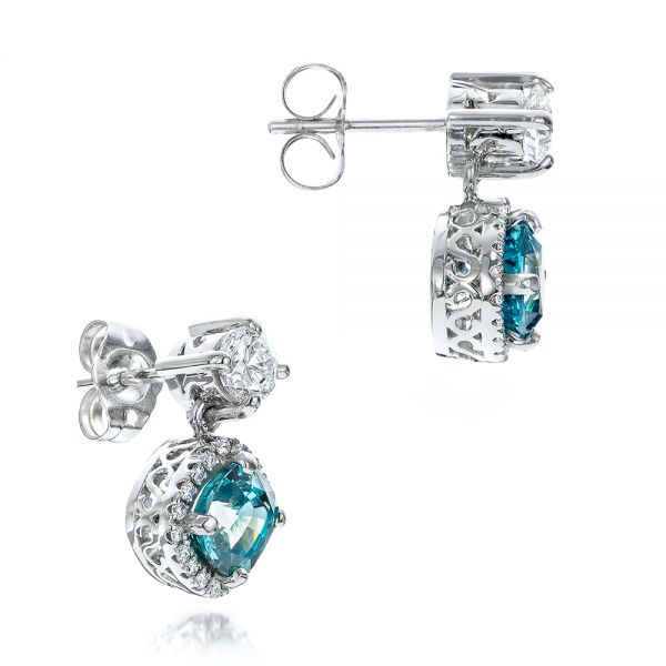 18k White Gold Custom Blue Zircon And Diamond Earrings - Front View -