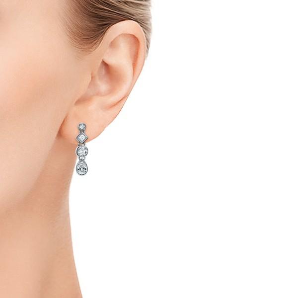 Custom Diamond Drop Earrings - Model View