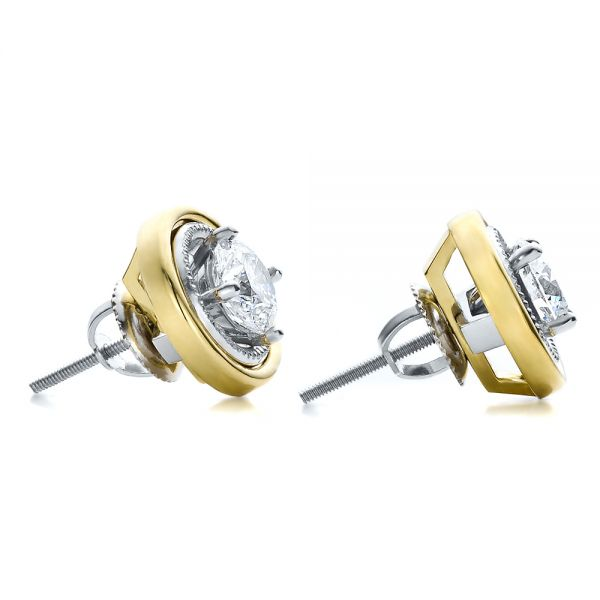 14K Gold 14K Gold Custom Diamond Earrings - Front View -  100087