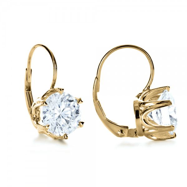 18k Yellow Gold 18k Yellow Gold Custom Diamond Earrings - Front View -  1172