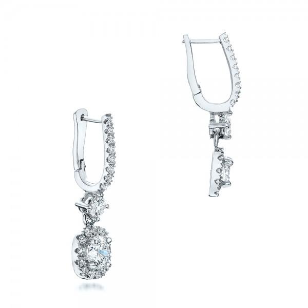 Custom Diamond Halo Drop Earrings - Laying View