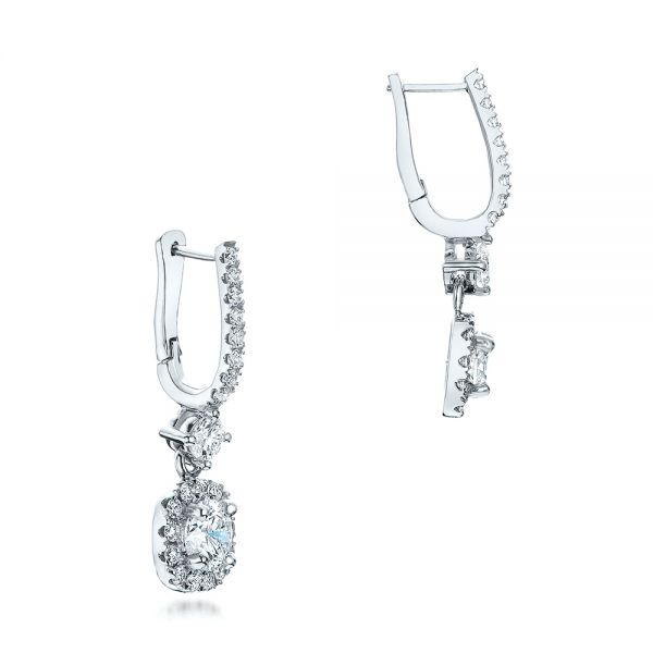 14k White Gold Custom Diamond Halo Drop Earrings - Front View -