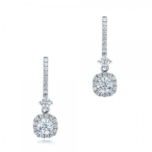 Custom Diamond Halo Drop Earrings