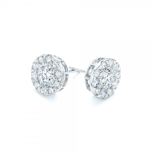 Custom Diamond Halo Stud Earrings - Flat View -  102987 - Thumbnail