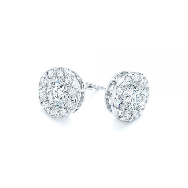 14k White Gold Custom Diamond Halo Stud Earrings - Front View -  102987