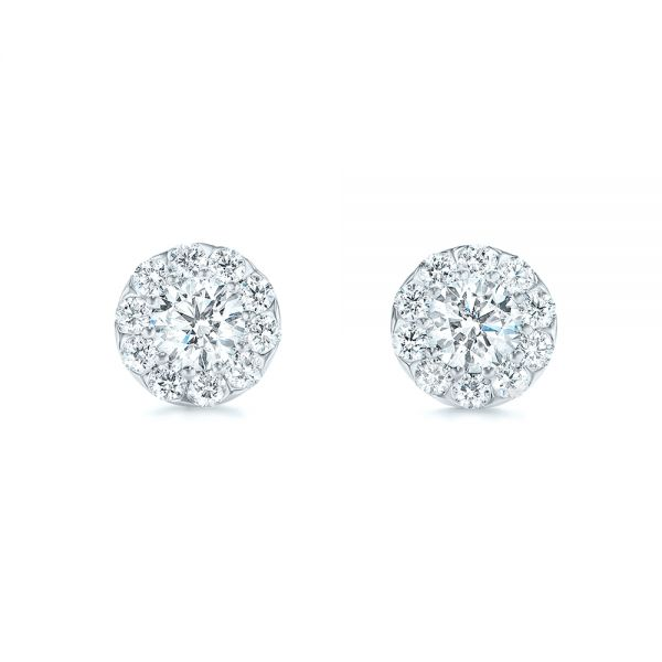 14k White Gold Custom Diamond Halo Stud Earrings - Three-Quarter View -  102987