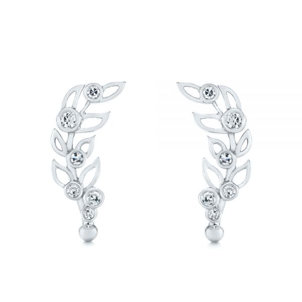 Custom Diamond Leaf Climber Earrings - Image