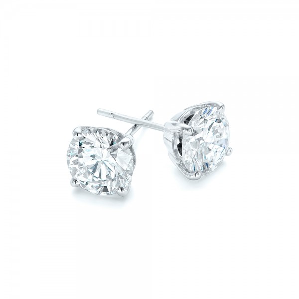 Custom Diamond Stud Jacket Earrings - Side View