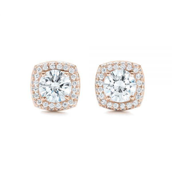 14k Rose Gold Custom Diamond Stud Jacket Earrings 103273 Seattle Bellevue Joseph Jewelry