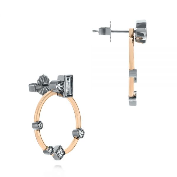 14k Rose Gold And 14K Gold 14k Rose Gold And 14K Gold Custom Diamond Studs With Two-tone Diamond Hoops - Front View -  104211