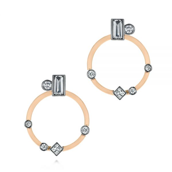 14k Rose Gold And 14K Gold 14k Rose Gold And 14K Gold Custom Diamond Studs With Two-tone Diamond Hoops - Three-Quarter View -  104211