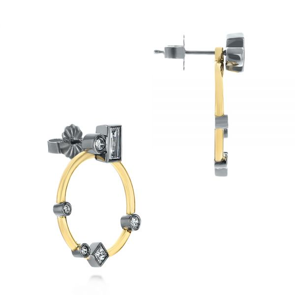 14k Yellow Gold And 14K Gold Custom Diamond Studs With Two-tone Diamond Hoops - Front View -