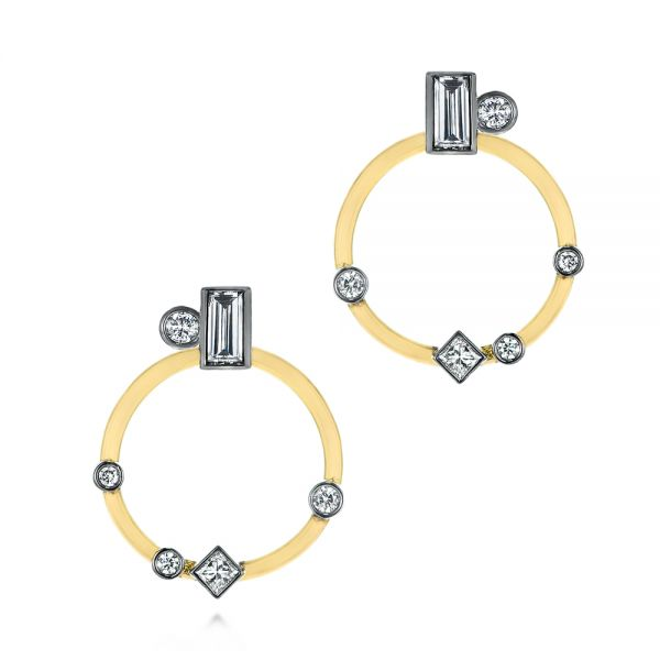 Custom Diamond Studs With Two-Tone Diamond Hoops - Image