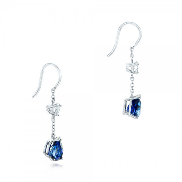 Custom Diamond and Blue Sapphire Drop Earrings - Flat View -  102776 - Thumbnail