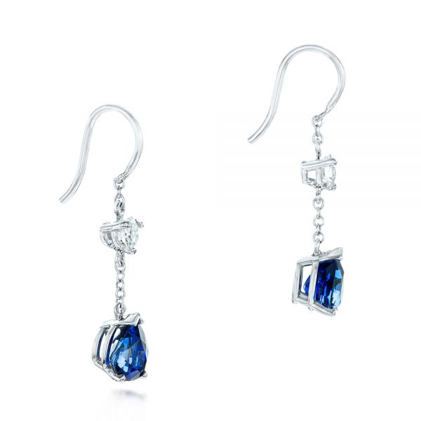 18k White Gold Custom Diamond And Blue Sapphire Drop Earrings - Front View -  102776