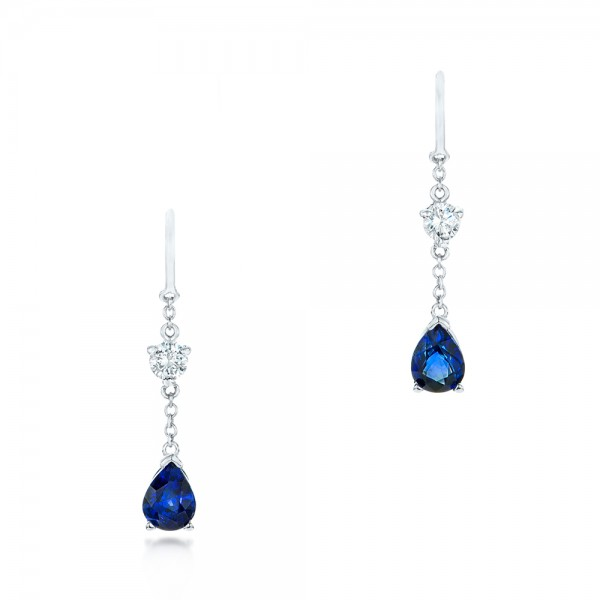 Custom Diamond and Blue Sapphire Drop Earrings