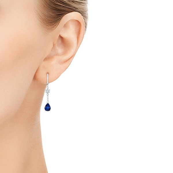 Custom Diamond and Blue Sapphire Drop Earrings - Hand View -  102776 - Thumbnail