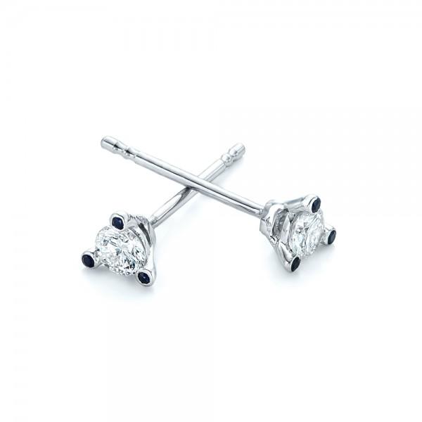 Custom Diamond and Blue Sapphire Stud Earrings - Laying View
