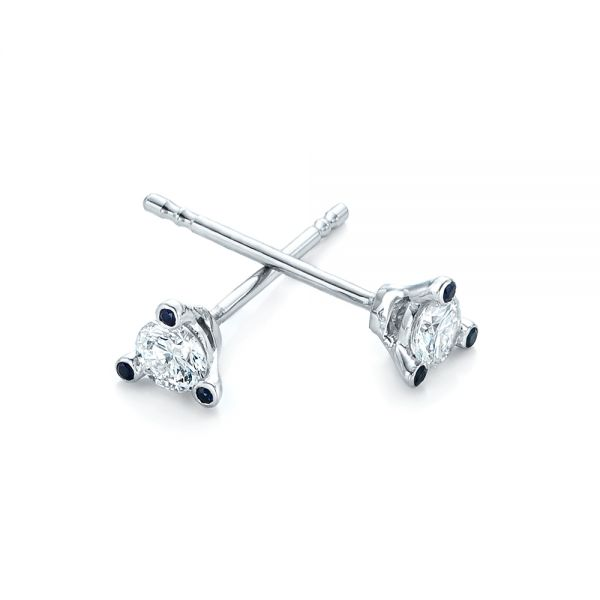 18k White Gold Custom Diamond And Blue Sapphire Stud Earrings - Front View -