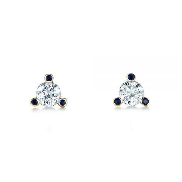 14k Yellow Gold Custom Diamond And Blue Sapphire Stud Earrings 102178 Seattle Bellevue Joseph Jewelry