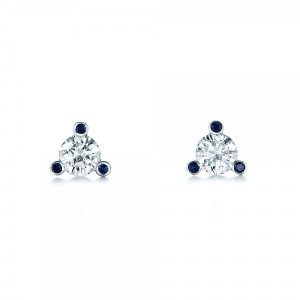 Custom Diamond and Blue Sapphire Stud Earrings