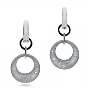 Custom Diamond and Brushed Metal Earrings