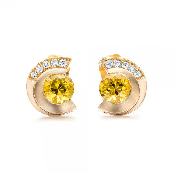 Custom Diamond and Golden Tourmaline Earrings