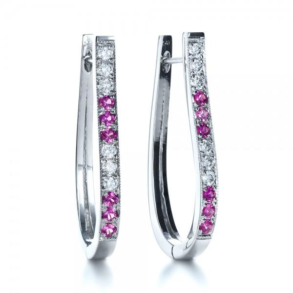 Custom Diamond and Pink Sapphire Earrings - Laying View